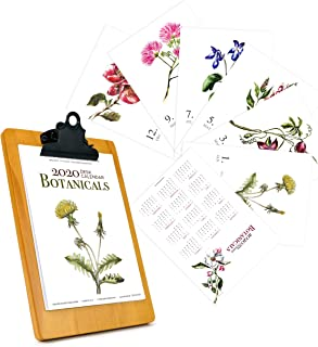 2020 Desk Monthly Calendar 5x7, with Wooden Display Easel Stand Watercolor Art Animal, Botanical, Succulent, Dogs Holiday Stocking Gift Home Office Decor (2020 Floral, Clip Board)