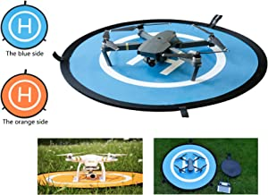 Qubuy Drones Landing Pad, Drone and Quadcopter 30''/75cm Universal Portable Foldable Waterproof RC Soft Helipad for DJI Phantom 2/3/4/Pro, Inspire 1/2,Mavic AIR/2 Pro/2 Zoom/Pro,GoPro Karma & More