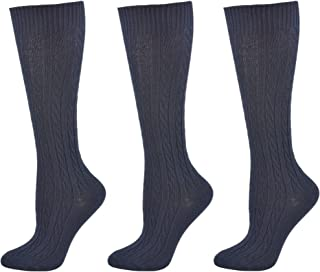 Girls' Classic Cotton Cable School Uniform Knee High 3 Pair Pack