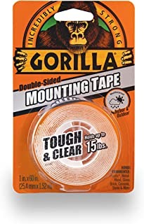 "Gorilla Tough & Clear Double Sided Mounting Tape, 1"" x 60"", Clear, (Pack of 1)"