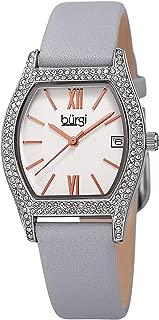 Burgi Swarovski Crystal Filled Women's Watch - Barrel Tonneau Case with Date Window On Genuine Leather Strap - BUR166