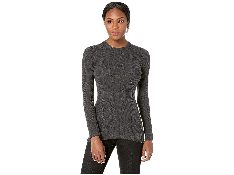 Icebreaker Valley Slim Crewe Merino Sweater (Charcoal Heather) Women