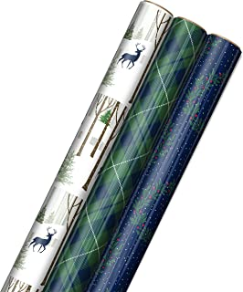 Hallmark Foil Holiday Wrapping Paper with Cut Lines on Reverse (3 Rolls: 60 sq. ft. ttl) Woodland Scene with Deer, Green a...
