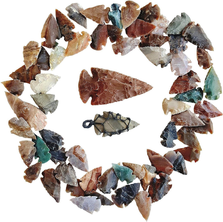 Arrowhead Lot, 62 pcs Indian Agate Stone Arrowhead Set by Ashkii