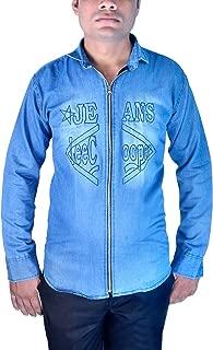 Sunshiny Men's Sky Blue Denim Designer Shirts Full Sleeves for Slimfit