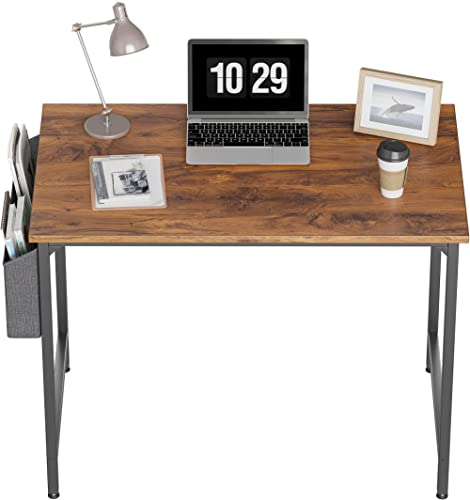 """CubiCubi Study Computer Desk 40"""" Home Office Writing Small Desk, Modern Simple Style PC Table, Black Metal Frame, Dee..."""