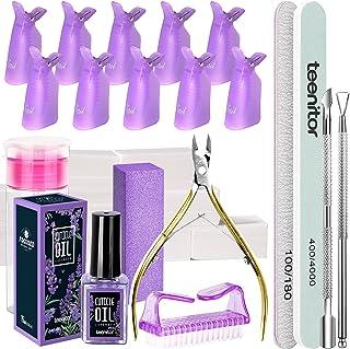 Teenitor Nail Gel Polish Dipping Powder Remover Tools Kit with Nail Clips Nail Remover Pads Cuticle Oil Nail Brushes Nail ...
