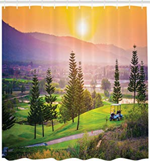 """Ambesonne Nature Shower Curtain, Golf Resort Park in Spring Season with Trees Sunset Hills and Valley End of The Day, Cloth Fabric Bathroom Decor Set with Hooks, 84"""" Extra Long, Orange Green"""