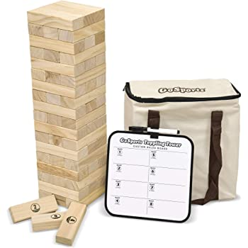 GoSports Large Toppling Tower with Bonus Rules | Starts at 1.5' and Grows to Over 3' | Made from Premium Pine Blocks
