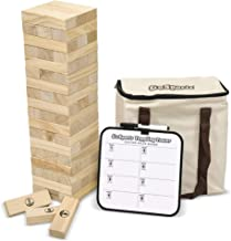 GoSports Large Toppling Tower with Bonus Rules   Starts at 1.5' and Grows to Over 3'   Made from Premium Pine Blocks