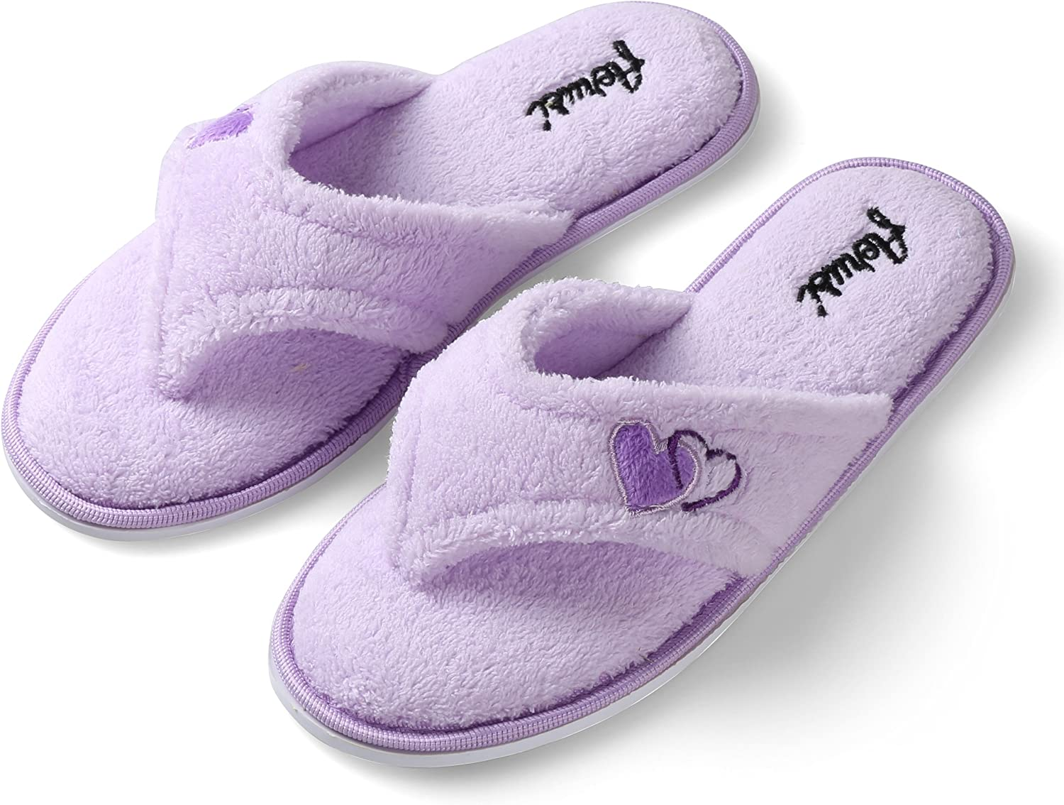 Aerusi SEL1010XL Splash Spa Women's Dual Hearts Indoor Home Bedroom Single Pair Slippers,purplec Purple,Size X-Large  Usa Size 11 - 12   European Size 42 - 43