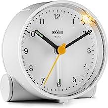 Braun Classic Analogue Clock with Snooze and Light, Quiet Quartz Movement, Crescendo Beep Alarm in White, Model BC01W, One...