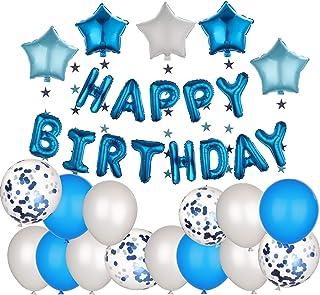 مجموعة ديكورات الحفلات واعياد الميلاد للاولاد، لافتات اعياد ميلاد زرقاء، بالونات + نجوم + لافتة + شريط لاصق + مضخة هواء