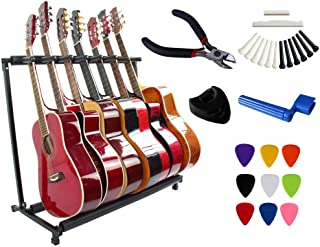 YMC Folding Multiple Guitar Stand for Acoustic Electric Guitar Bass Rack Band Stage,Includes Picks,Pick Holder,String Wind...