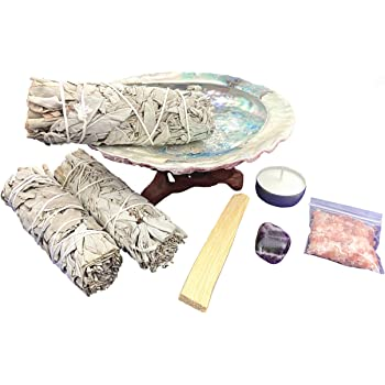 Chakra Palace Large Smudge Kit Gift Set, Abalone, Wood Stand, Sage, Palo Santo, Crystal - 10 Items