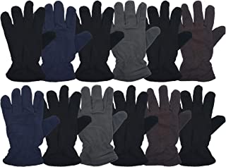 12 Pairs of Winter Fleece Gloves, Soft Warm Cozy Sports Glove, Mens Womens Kids
