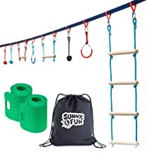 Sunny & Fun Portable 50 Foot Ninja Slackline Monkey Bar & Ladder Kit – Kids Gym Swinging Obstacle Course Set - Warrior Training Bars, Fists, Gymnastics Rings - Carry Bag & Tree Protectors