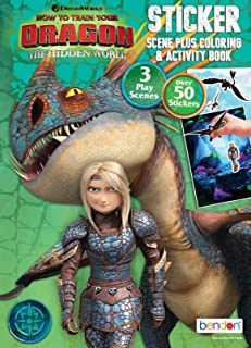 Dreamworks Dragons Bendon 13858 How to Train Your Dragon 3 Sticker Scene Plus Coloring & Activity Book, 24 Pages, Multicolor
