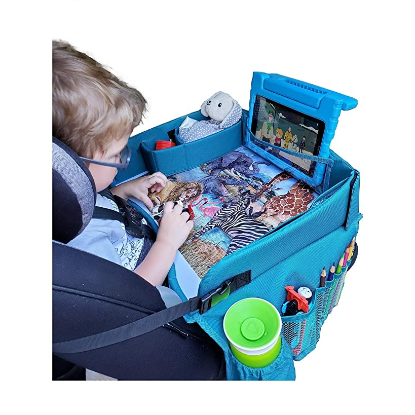 Travel Tykes Travel Play Tray – Kids Travel Tray Activity Organizer Keeps Snacks and Toys Within Child's Reach | Displays African Animal Art | Child Travel Tray for Car Seat | Toddler Travel Lap Tray