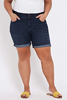 Beme Mid Thigh Double Button Short - Womens Plus Size Curvy