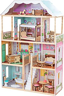 KidKraft Charlotte Classic Wooden Dollhouse with EZ Kraft Assembly, 14-Piece Accessory Set, for 12-Inch Dolls, Gift for Ag...