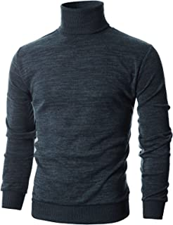Ohoo Mens Slim Fit Long Sleeve Turtleneck Mixed Ribbed Hem Pullover Sweater