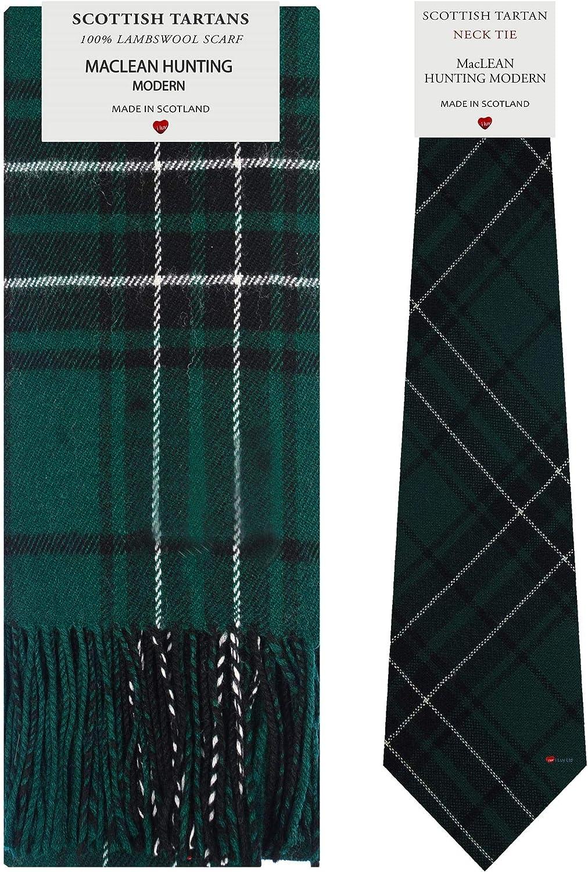 MacLean Hunting Modern Tartan Plaid 100% Lambswool Scarf & Tie Gift Set