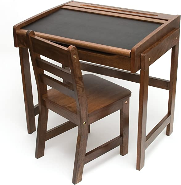 Lipper International 554WN Child S Chalkboard Desk And Chair 2 Piece Set Walnut Finish