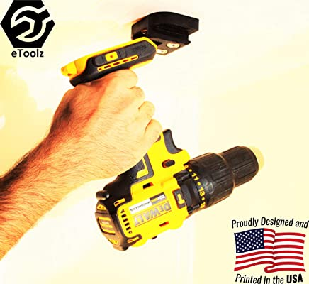 DeWALT V20 20V Lithium Ion Cordless power tools Stealth Mount from battery slot 3D printed in PLA Black by eToolz.