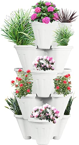 POTS4NATURE Sharpex Garden Stacking Vertical Plastic 5 Tier Indoor/Outdoor Gardening Tower Planter Pot for Fresh Herb...