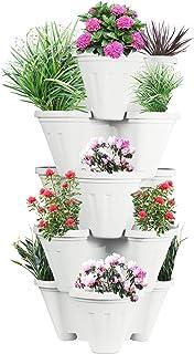 Sharpex Garden Stacking Flower Pot Tower Vertical Plastic Garden Planter Vegetable Flower Strawberry Planter Pot Indoor/Outdoor 5 Tier Gardening Tower for Grow Fresh Herbs
