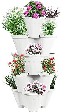 POTS4NATURE Garden Stacking Vertical Plastic 5 Tier Indoor/Outdoor Gardening Tower Planter Pot for Fresh Herbs, Vegetable, Fl