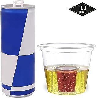 100 Vasos de Chupito Desechables de Plástico Duro, Jager Bomb Shot, Transparente - Durable, Resistente & Reutilizable - para Jägermeister Red Bull Shots Fiestas Navidad Celebración de Año Nuevo.