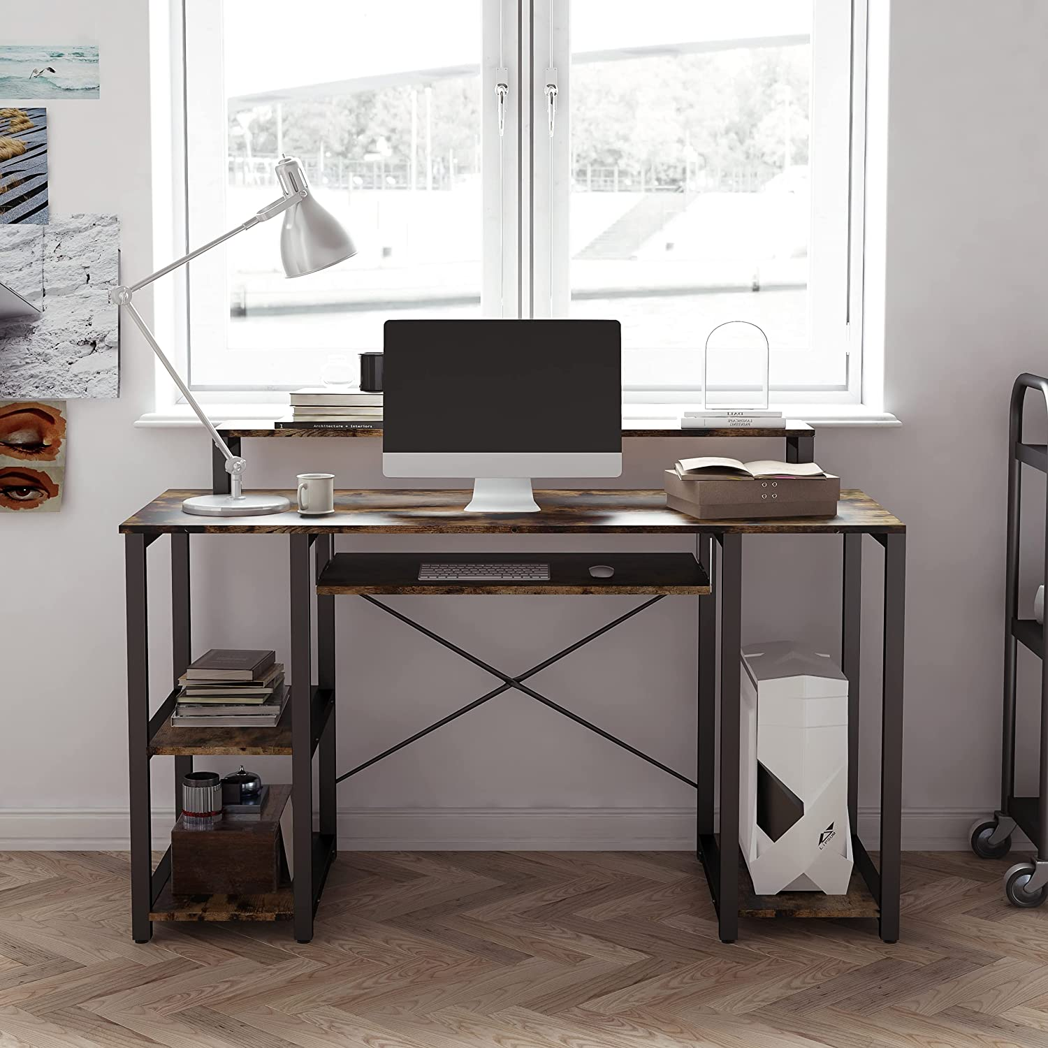 Computer Desk Max 74% OFF with Open Storage Sturdy Shelves Modern Writing De Import
