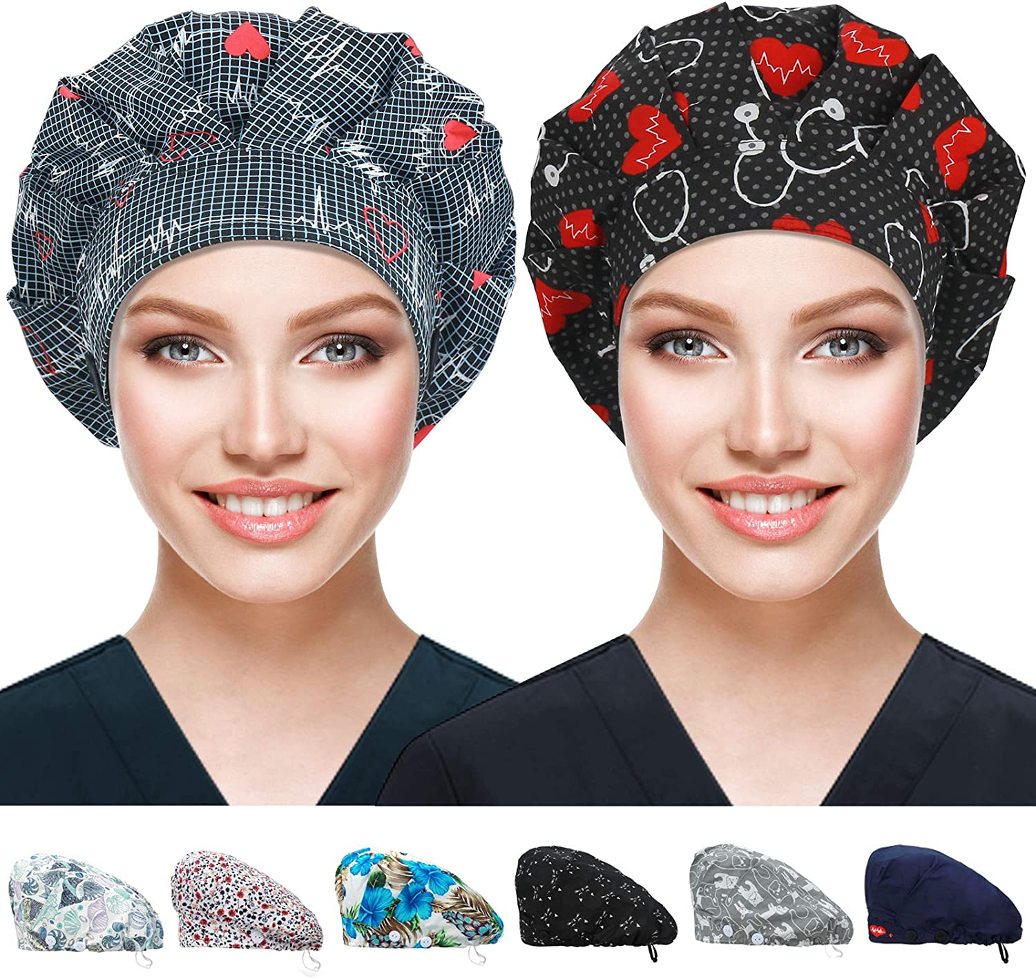 Purefitinsoles Bouffant Caps with Buttons 2021 model Swe Working Hats Max 72% OFF