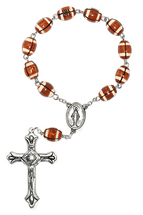 One Decade Football Pocket Rosary, Football Ceramic Sport Pocket Rosary …