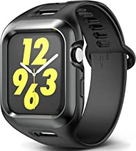 YOUMAKER Rugged Protective Case with Comfortable Strap Bands for Apple Watch 4 44mm, Screen Protector Friendly Shockproof Case for Apple iWatch Series 4 44mm (2018) - Black