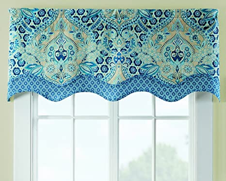 Amazon Com Waverly Valances For Windows Moonlit Shadows 52 X 18 Short Curtain Valance Small Window Curtains Bathroom Living Room And Kitchens Lapis Home Kitchen