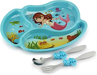 KidsFunwares Me Time Meal Set (Mermaid) – 3-Piece Set for Kids and Toddlers – Plate, Fork and Spoon that Children Love - Sparks your Child's Imagination and Teaches Portion Control - Dishwasher Safe