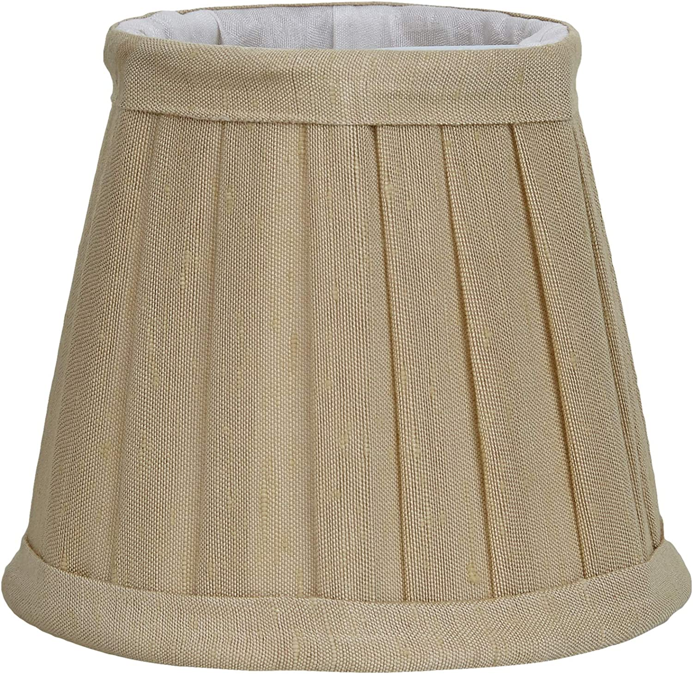 BETTER & BEST Q B&B Q BETTER & BEST Pantalla de lámpara de Seda, con Pinza de sujeción para Bombillas Tipo Vela, Tabla Ancha, de 12 cm, Color Beige