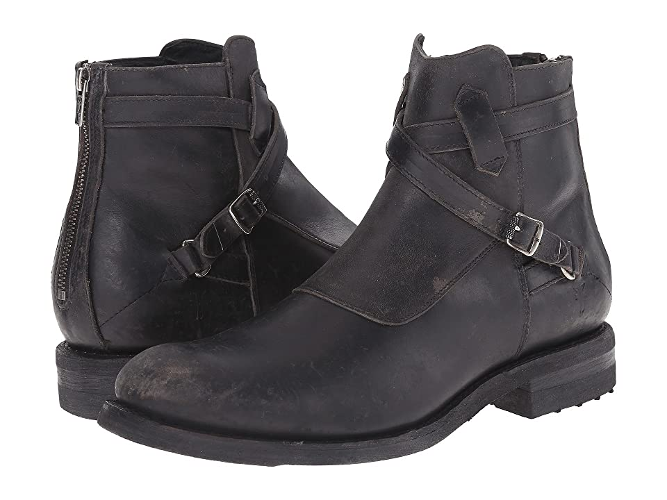 Frye Stone Cross Strap (Black Polished Stonewash) Men