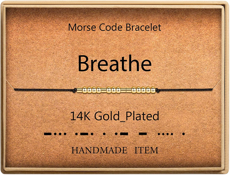 Morse Code Bracelet 14k Gold Plated Beads on Silk Cord Inspirati
