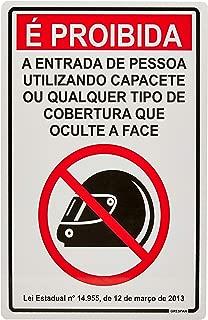 Placa de Sinalização Proibida Entrada com Capacete, Grespan, Multicor, Pacote de 5