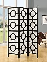 Monarch Specialties Frame 3-Panel Circle Design Folding Screen, Black