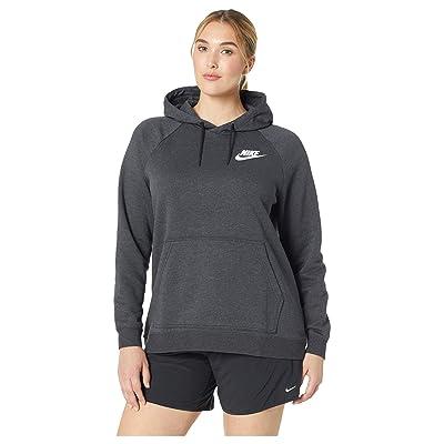 Nike Plus Size Rally Extended Hoodie (Black Heather/Black/White) Women