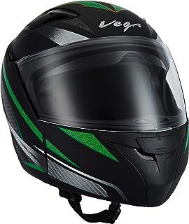 Vega Boolean Drift Dull Black Green Flip-up Helmet-M