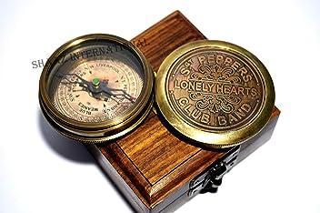 ROSS LONDON Robert Frost Brass Poem Compass C-3013