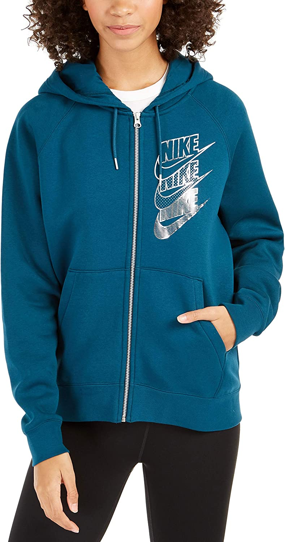 Nike Women's Sportswear Shine Metallic Logo Zip Hoodie