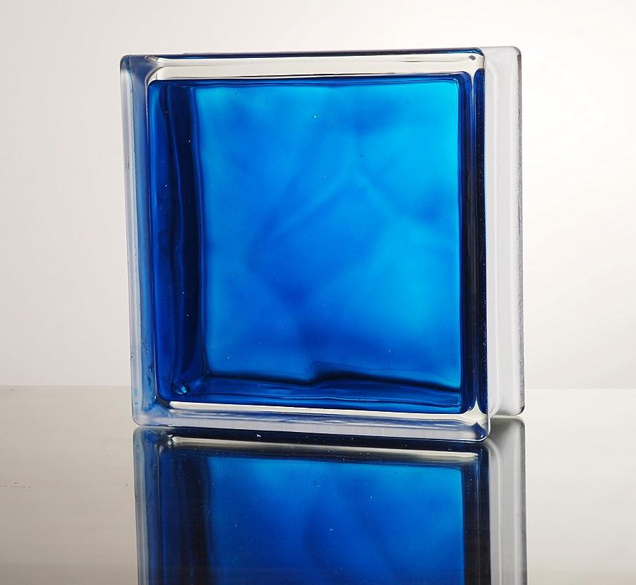 素敵な所有権混沌ガラスブロック ◆◆◆デザイン豊富20種類◆◆◆(カラーシリーズ) 190mm角×80mm厚 (1個(サンプル), In Colored Blue)