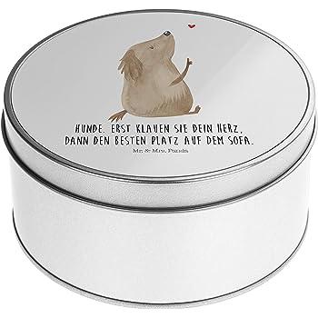 Blechdose rund Hund Hundedame mit Spruch Panda Keksdose Geschenkebox /& Mrs Mr Farbe Wei/ß